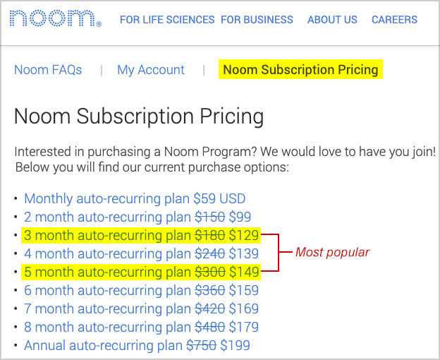 noom pricing 2021