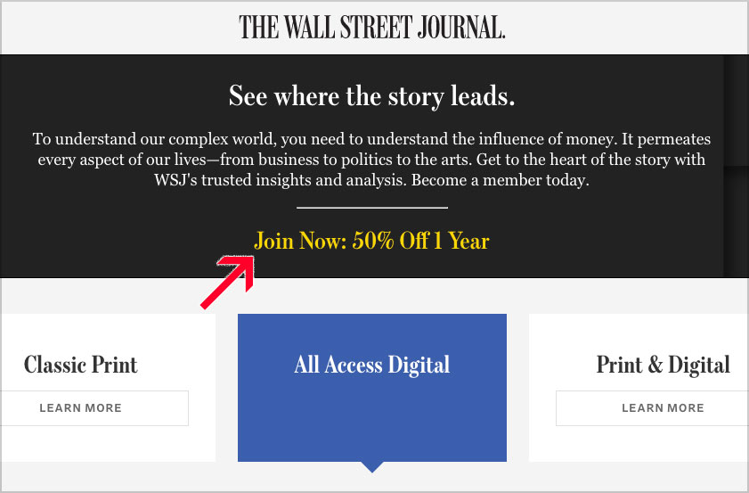wsj subscription deal 50