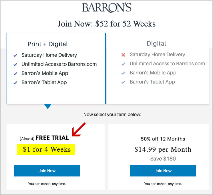barrons free trial offer