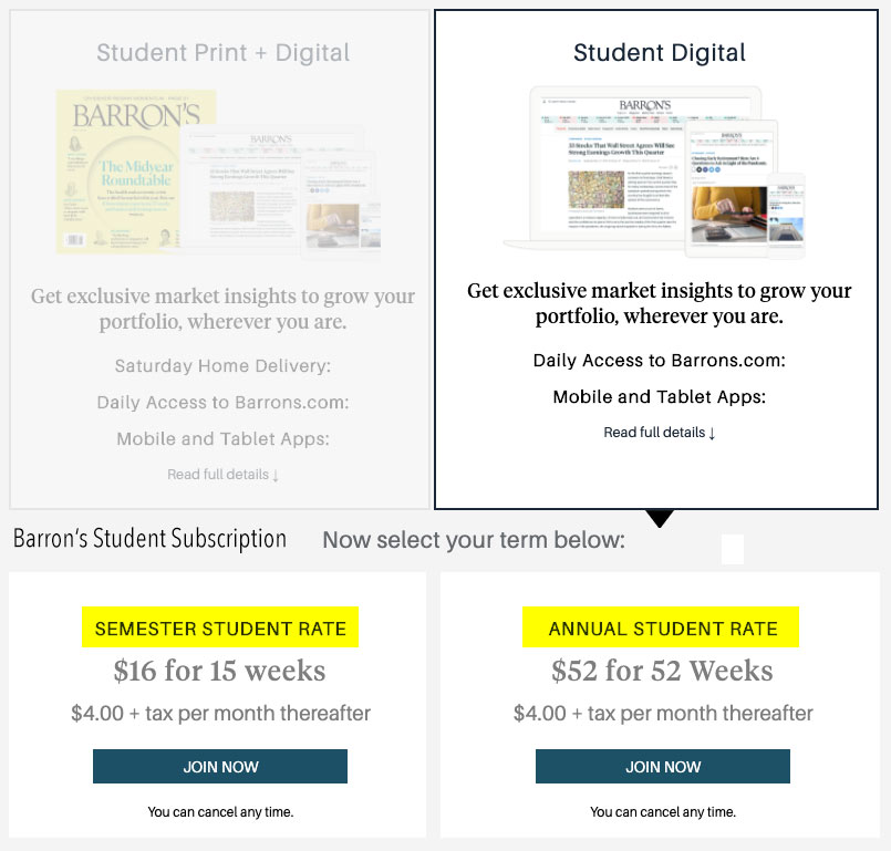 barrons student subscription discount