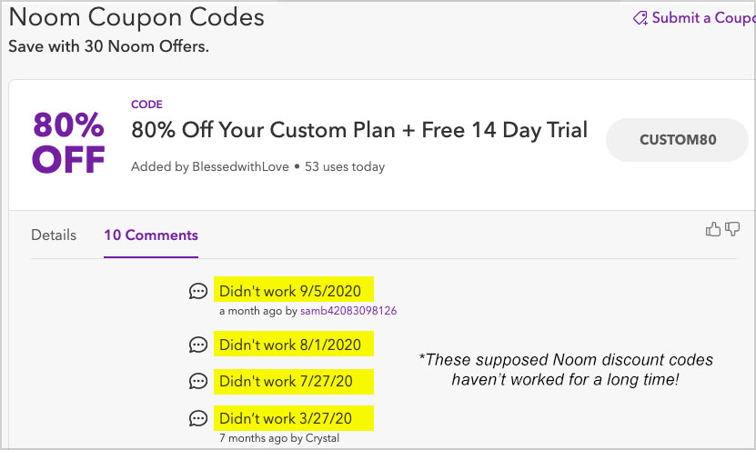 noom discount codes not work