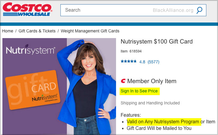 nutrisystem costco gift cards