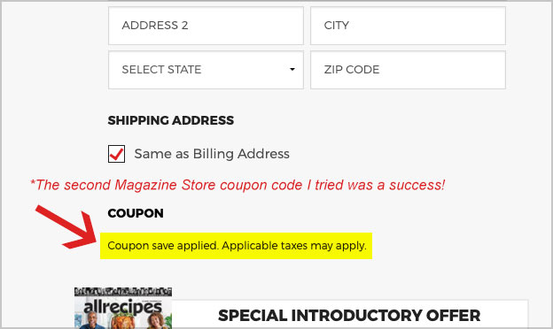 magazine store coupon code applied