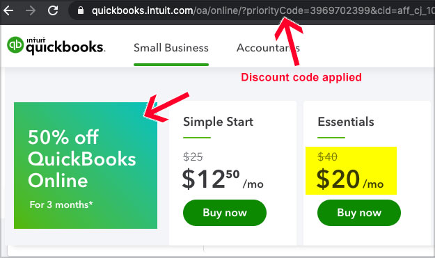 quickbooks discount code applied