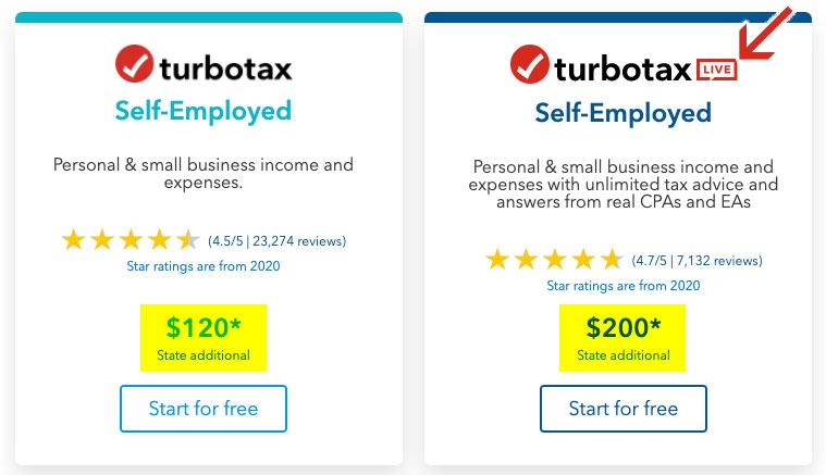 turbotax self employed cost 2021