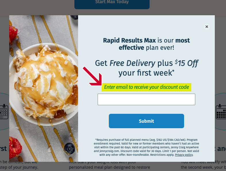 email jenny craig discount code