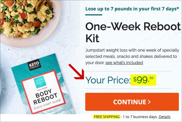 south beach diet reboot pricing