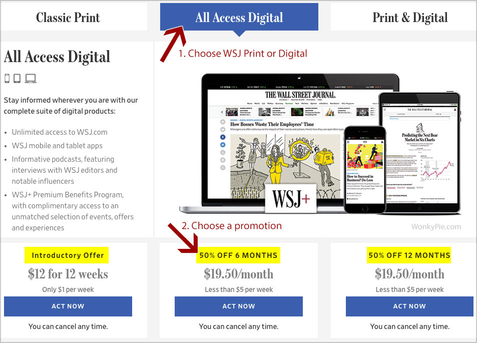 wsj digital print cost