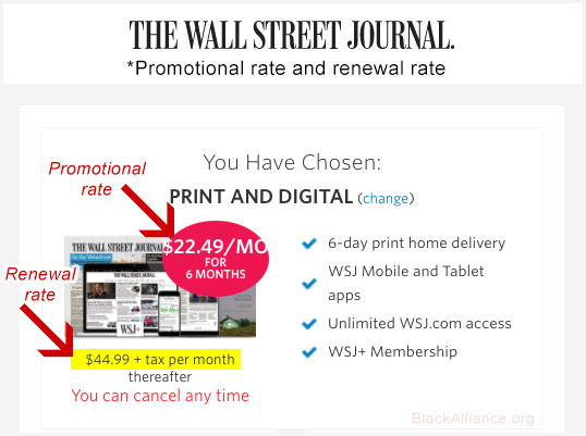wsj subscription rates