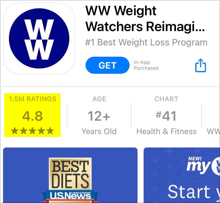 ww app store ratings