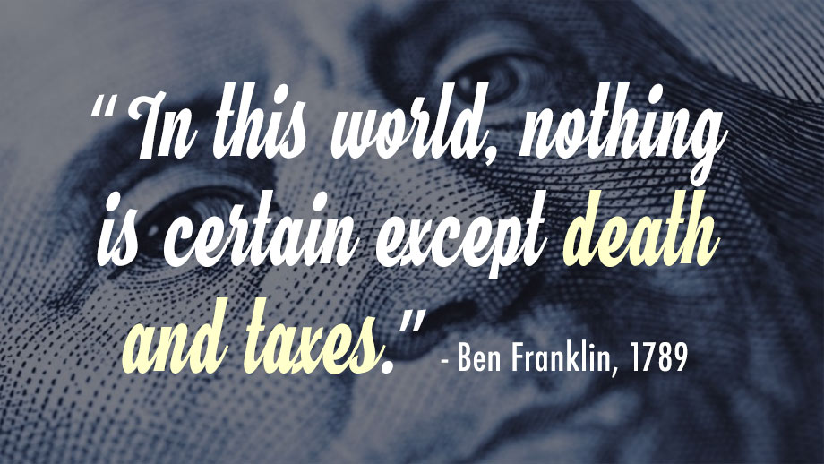 ben franklin death taxes quote