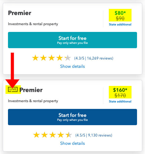 turbotax premier pricing