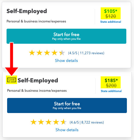 turbotax self employed pricing live